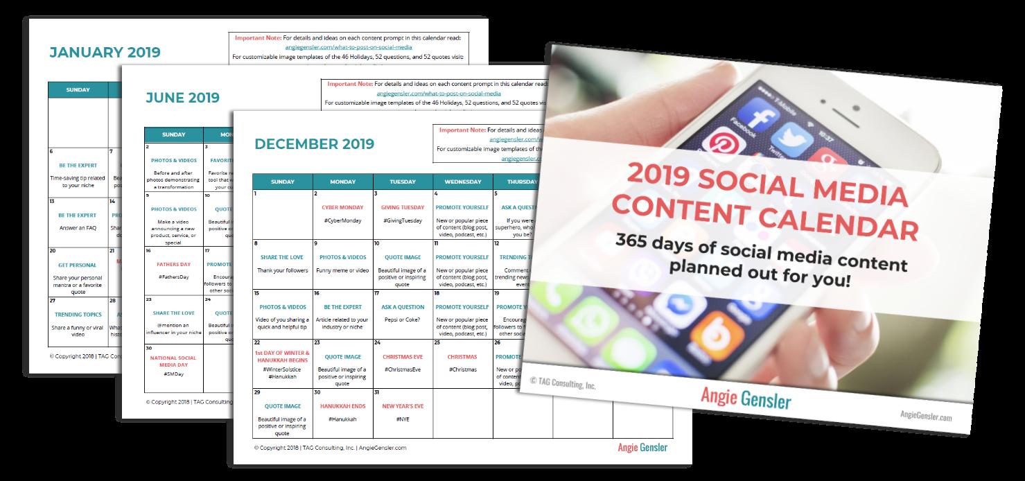 Social Media Calendar 2019 Short Fit Grandma